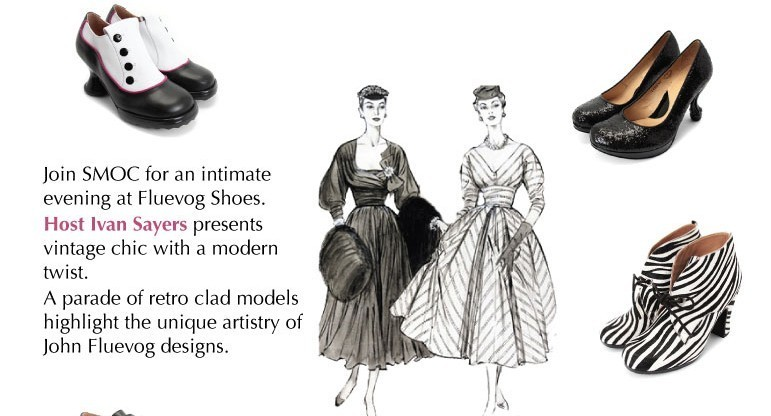 SMOC collaborates with Fluevog for a fashion show that merges vintage garments with Fluevog footwear.